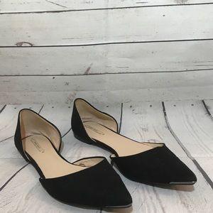 ZARA black suede pointy toe flats